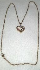 Gold Plate Necklace Rhinestone Heart Cross Mother Red Blue Clear Amber Crystal