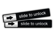 2x Slide To Unlock Vinyl Decals / Car Stickers Labels Laptop Notebook Door