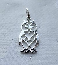 LOVELY FILAGREE OWL PENDANT CHARM 925 STERLING SILVER