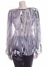 New Size Medium Sisters Point Sheer Blouse Top In Black White Long Sleeve 12 14