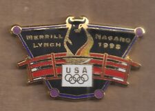 1998 Merrill Lynch Nagano Olympic Pin Bull USA Rings