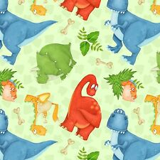 Fabric Dinosaurs on Pastel Green Flannel by the 1/4 yard BIN