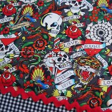 Love is True ED HARDY TATTOO Grey Skulls Hearts Tigers Fabric by the Fat Quarter