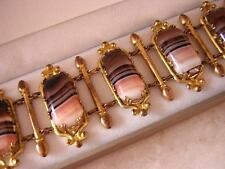 ANTIQUE GEORGIAN VICTORIAN PINK & BROWN BANDED AGATE BRACELET in PINCHBECK MOUNT