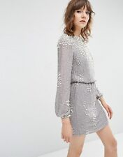 Pearl Cluster Long Sleeve Mini Dress GREY UK 12