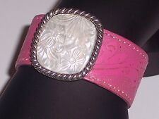 Pearl Station Hot Pink Leather Strap Sterling Silver Cuff Bracelet Floral Design