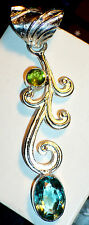 BNWT Apatite and Peridot Lariat Pendant; Silver Plated, Vine-Inspired
