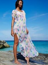 Victorias Secret Swim Pastel Sequin Large Caftan Beach Cover-Up Maxi Dress A423