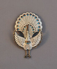 VINTAGE STERLING SILVER PIN - ENAMEL CLOISONNE - HINGED - WHITE PEACOCK - 3""