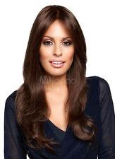 100% Echthaar Perücken NEU Lang Dunkelbraun Gewellt Perücke Damen Haar Perücke