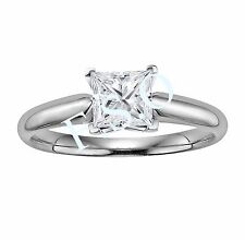 2 Carat Princess Cut Square Solitaire Wedding Ring Set in 14k Solid White Gold