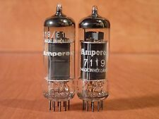 AMPEREX 7119/E182CC, PQ TUBE PAIR (2) TEST NOS, MADE IN HOLLAND