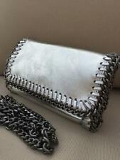 Silver Ladies 100% Italian leather Snake Chain Trim Clutch Bag Prom Shoulder Bag