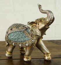 Steel Blue & Gold Lucky Elephant Ornament Gift Figurine '23cm' 55295