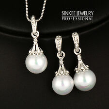 Elegant Silver Plated Pearl Pendant Necklace Earrings Wedding Jewelry Sets Tz132
