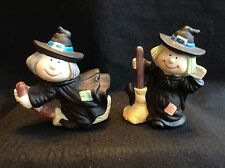 Pair of Whimsical Resin Witches Halloween Country Craft Decoration