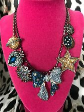 Betsey Johnson Heavens to Betsey Celestial Star Moon Galaxy Crystal Bow Necklace