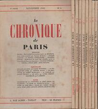 La Chronique de Paris N°1 à 9. Brasillach, Drieu La Rochelle, Rebatet. EO1943-44