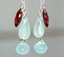 Aqua Blue Mint Green Chalcedony Garnet 925 Sterling Silver U&C Sundance Earrings