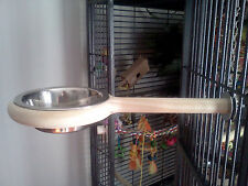 Bird Perch, feeder bowl Great gift , small to medium parrots 100% USA made