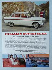 Prospekt Hillman Super Minx mit 1275 ccm Motor, ca.1964, 2 Seiten, deutsch