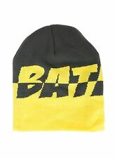 DC COMICS BATMAN YELLOW & GREY SPLIT LOGO ADULT WINTER BEANIE HAT CAP NWT!