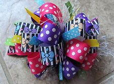 Polka Dot Bows on Black/White Stripes Boutique Hairbow with or w/out Feather