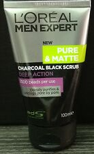 100mL LOREAL MEN EXPERT Pure Matte CHARCOAL SCRUB -ACNE Face Wash Foam Cleanser