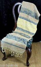 """ANTIQUE CIRCA 1890-1910 HANDWOVEN HEAVY EMBROIDERED FRINGE TABLE RUNNER 19""""x74"""""""