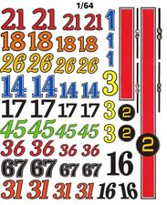 Vintage Race Car Numbers High Definition 1/64th HO Slot Car Waterslide Decals