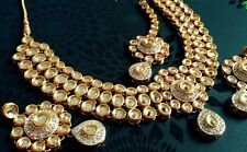 Indian Ethnic wedding jewellery set, gold Plated kundan earrings Tika