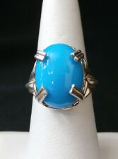 Stunning Simulated Turquoise Solitaire Sterling Silver Ring  Make Offer! #1648