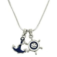 "Anchor & Boat Steering Wheel Charm Pendant Necklace - Enamel - 17"" Chain"