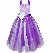 Purple Kids Princess Christening Wedding Party Pageant Tulle Flower Girl Dress10