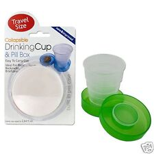 3 COLLAPSIBLE DRINKING CUP PILL BOX TRAVEL SIZE 2 BLUE 1 GREEN New
