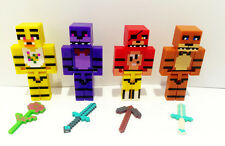 4 Pcs Set Five Nights At Freddy's Minecraft Mini Figures Toys Lot For Kids