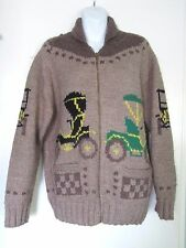 VTG 1970's Cowichan MARY MAXIM Hand Knit WOOL Cardigan Zip CAR Sweater Men M/L