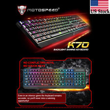 Motospeed K70 Waterproof Colorful LED Illuminated Backlit USB Wired Keyboard