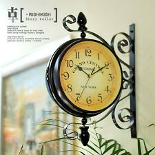 Antique Double Sided Wall Clock Garden Hallway Outdoor Station Mount Clock