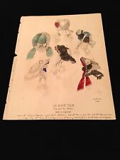 Beautiful Antique French Print VICTORIAN High FASHION Plate Women's Hats