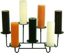 Amish Wrought Iron Fireplace 7 Pillar Candle Holder Made in the USA No Tax!