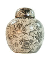 Antique Vintage Country Style Porcelain Black & White Ginger Jar, Floral 15.5cm