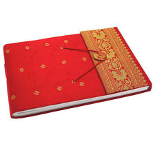Fair Trade Handmade Medium Red Sari Photo Album Art book, Scrapbook 2nd Quality