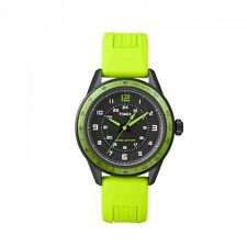 NEW TIMEX AMERITUS BLACK+GREEN TONE, RUBBER BAND,BLACK DIAL WATCH-T2P025