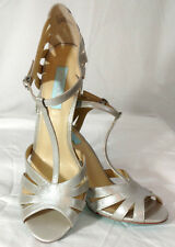 Betsey Johnson Womens Sz 10 Silver Champagne High Heel Strap Sandals Dress Shoes