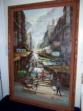 SIGNED CHAN CHINESE STREET SCENE RICKSHAW CHINA TOWN HONG KONG OIL PAINTING