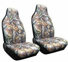Set of 2 Camo Forest Front Seat Covers High Back Bucket Camouflage HB