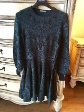 Alexander McQueen Green-Black Victorian Lace Jacquard Long Sleeve Dress Size S