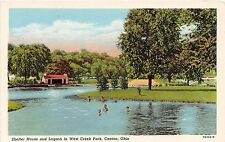 Ohio postcard Canton, Shelter House and Lagoon in West Creek Park