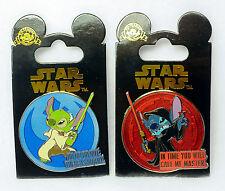 Disney STAR WARS STITCH Pins Jedi Yoda / Emperor Palpatine Quotes 2 Pins